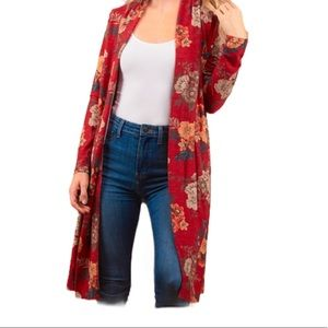 Tops - FLORAL FRENCH LONG PLUS CARDIGAN Size 1X 2X 3X